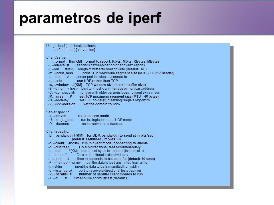parametros de iperf Usage: iperf [-s|-c host] [options]